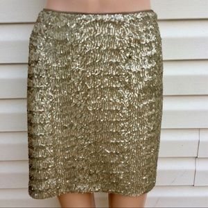 EUC Cache Bronzy Gold Sequin Fitted  Mini Skirt-6